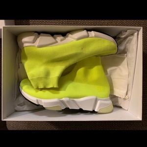Balenciaga Speed neon yellow mid trainer size 9